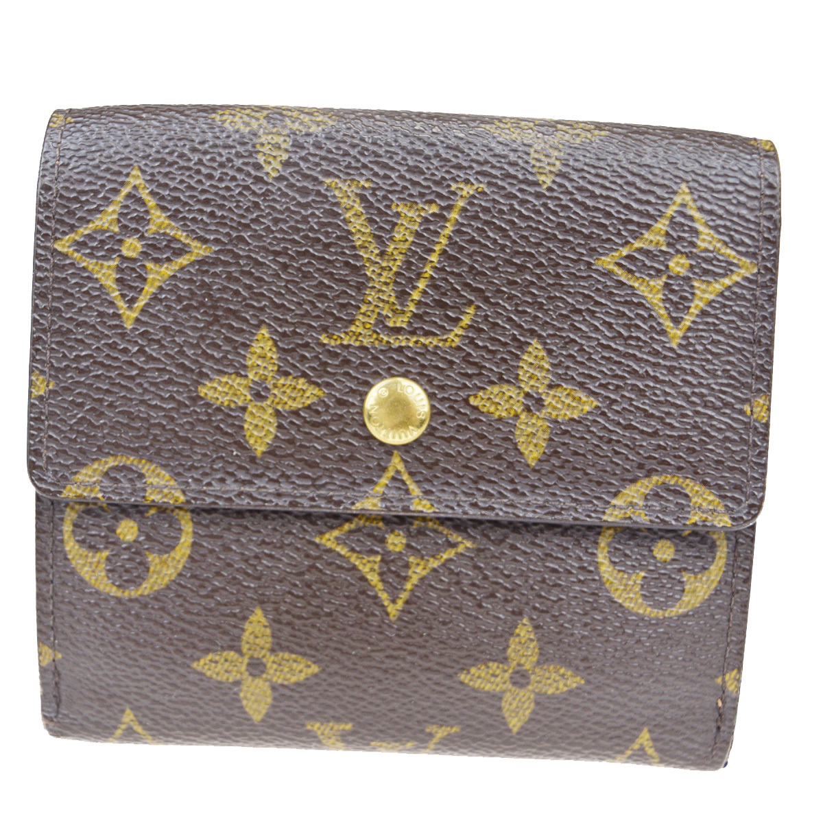 【中古】 ルイ・ヴィトン(Louis Vuitton) モノグラム ポルトフォイユエリーズ M61654 レザー 財布(三つ折り) ブラウン 02FB115