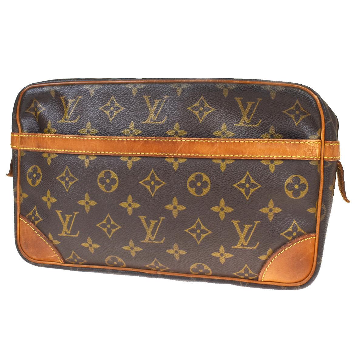 【中古】 ルイ・ヴィトン(Louis Vuitton) モノグラム コンピエーニュ 28 M51845 クラッチバッグ ブラウン 05FB538