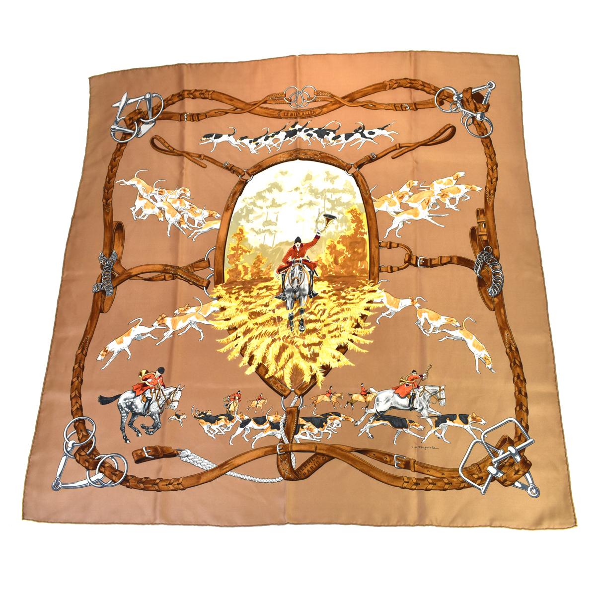 【中古】 エルメス(Hermes) LE BIEN ALLER シルク スカーフ ブラウン 01PA433
