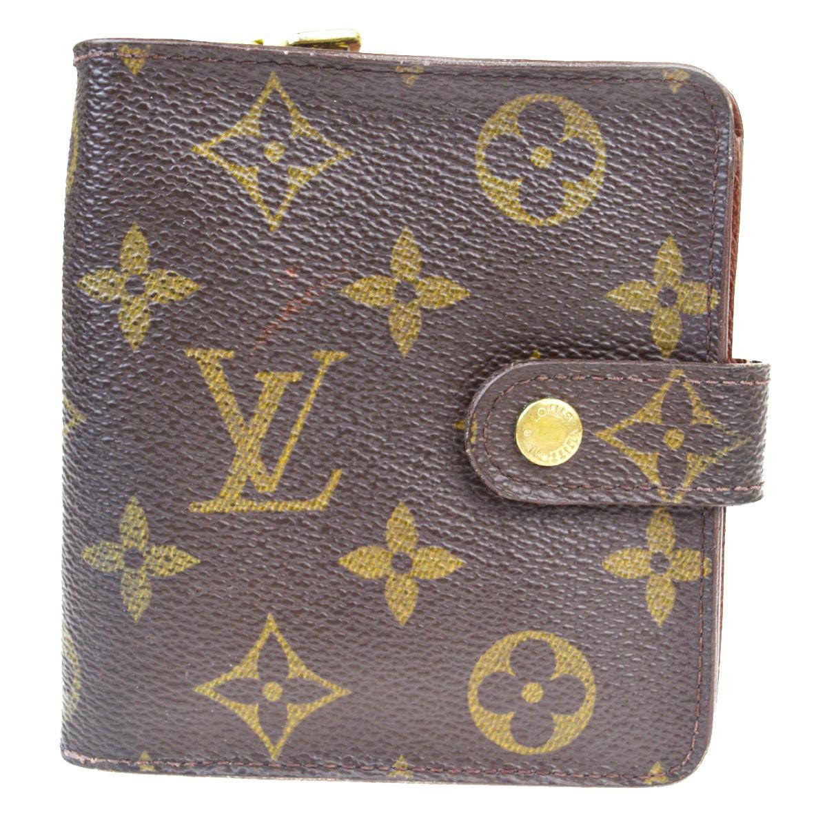 【中古】 ルイ・ヴィトン(Louis Vuitton) モノグラム コンパクトジップ M61667 レザー 財布(二つ折り) ブラウン 07FA950