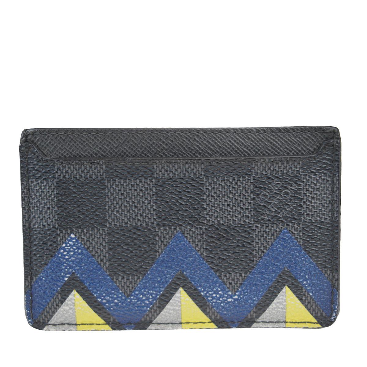 【中古】 ルイ・ヴィトン(Louis Vuitton) ダミエグラフィット ポルトカルト・サーンプル レザー カードケース グレー 01FA738