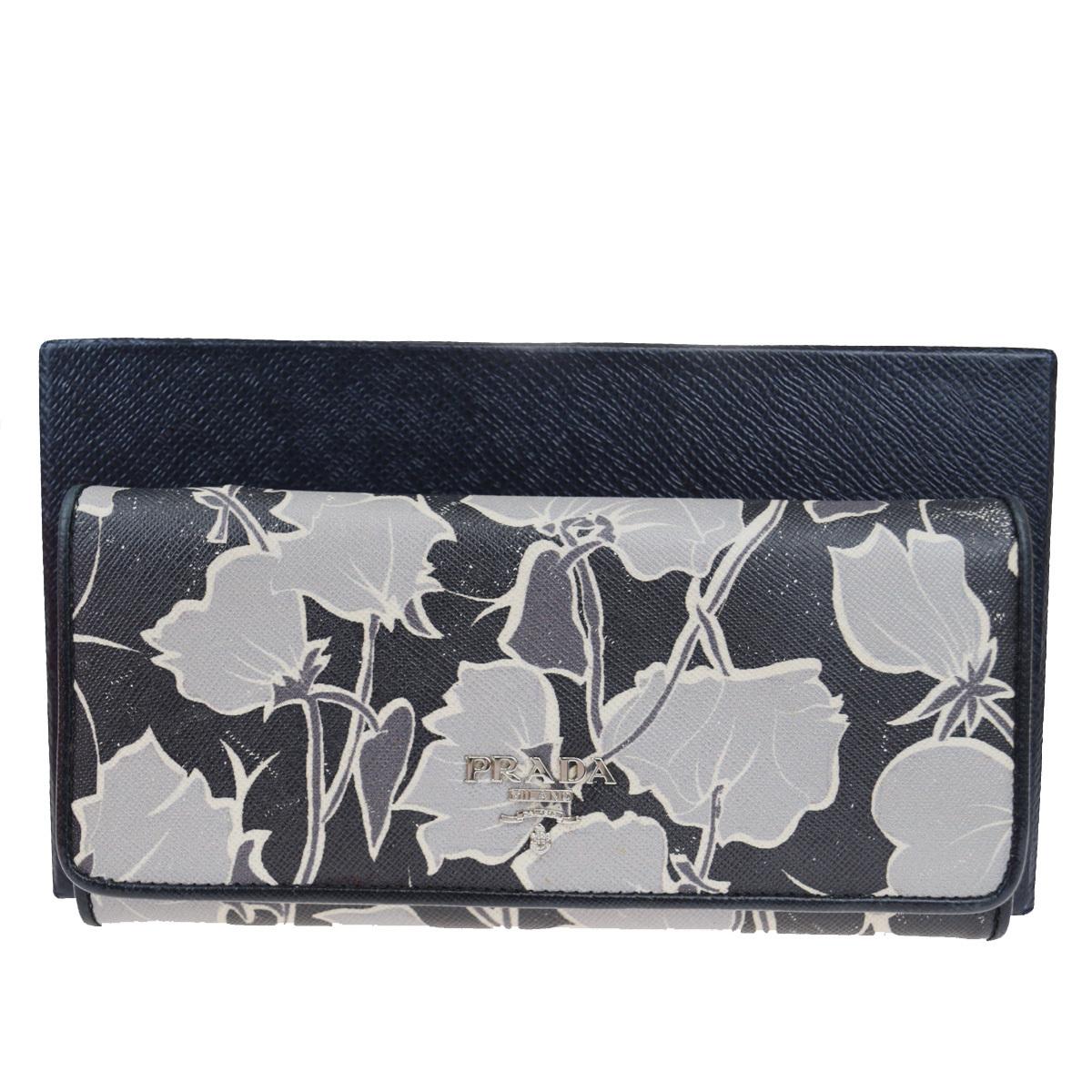 【中古】 プラダ(Prada) レザー 長財布(二つ折り) ブラック 07FA844