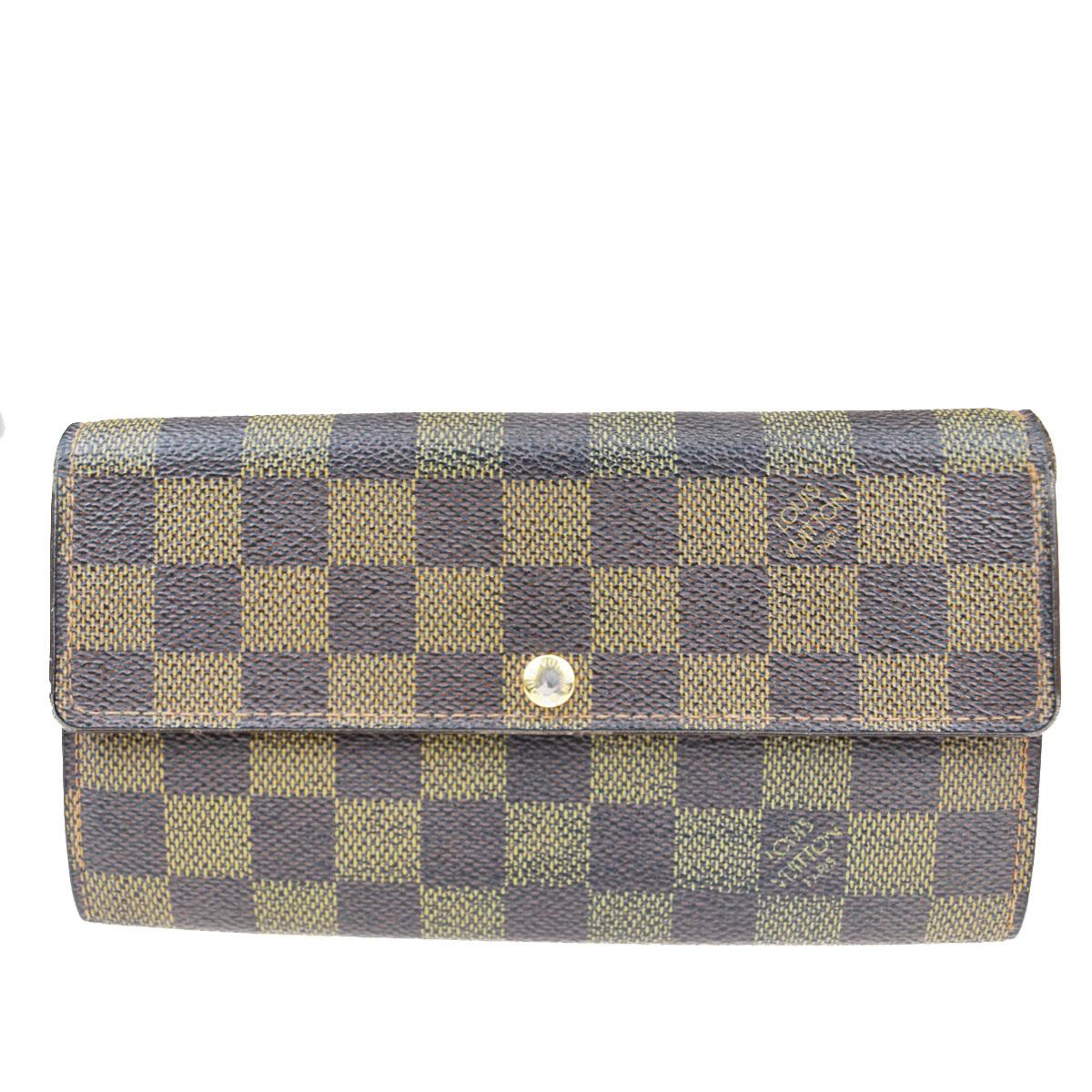 【中古】 ルイ・ヴィトン(Louis Vuitton) ダミエ ポルトフォイユ サラ N61734 レザー 長財布(二つ折り) ブラウン 02FA853