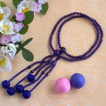 日蓮宗本式数珠*法華本連念珠◆ 紫水晶(アメジスト)*八寸 ◆利休梵天房 桐箱付
