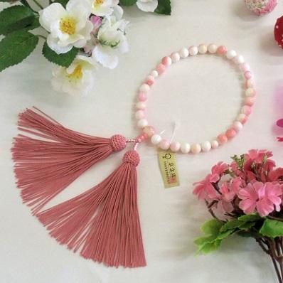 【 数量限定 特別価格 】女性用片手数珠◆クィーンコンクシェル(ピンク貝)◆正絹頭房【桐箱付】