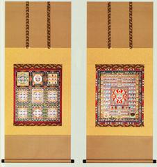 仏事床掛軸【仏事用掛け軸】 仏画■ 両界曼荼羅 ■特殊工芸作品*尺五アンド対幅■高級桐箱入