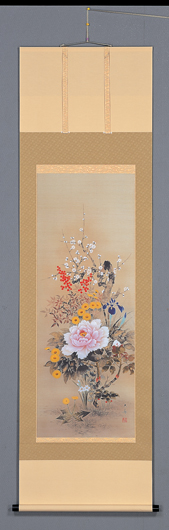 床の間掛軸【祝い掛け軸】■ 四季花 ■特殊工芸作品石田大寿作*尺五立