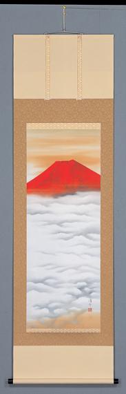 床の間掛軸【祝い掛け軸】■ 赤富士 ■特殊工芸作品 中島洋介作*尺五立