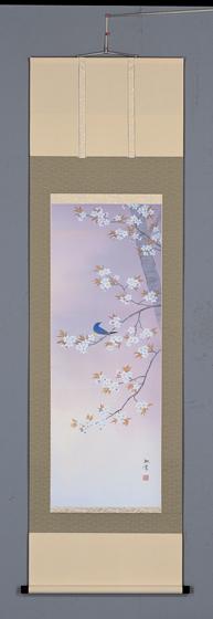 床の間掛軸【掛け軸 季節・春】■ 桜に小禽 ■特殊工芸作品 萩原緑翠作*尺五立