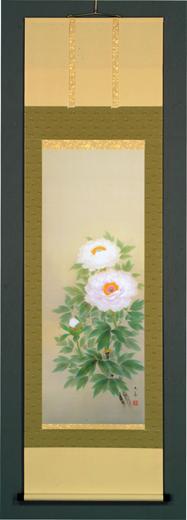 床の間掛軸【掛け軸 季節・夏】■ 牡丹 ■特殊工芸作品 石田大寿作*尺五立