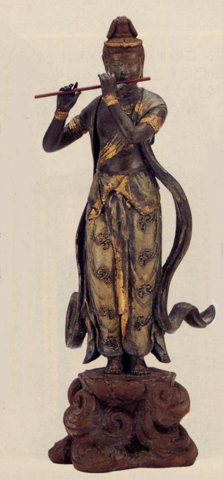 仏像■ 音声菩薩像 天上の音色 彩色 ■喜多敏勝 原型・瑞峰作 蝋型青銅製 化粧箱入 証付 【高岡銅器】d129-05