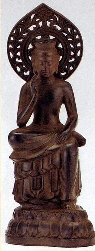 仏像■ 弥勒菩薩 茶色■合金製 紙箱入【高岡銅器】