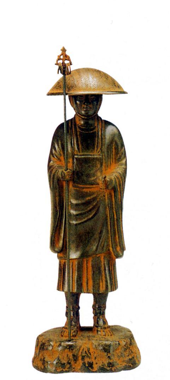 仏像■ 尺1寸 弘法大師像 ■長田晴山作 青銅(ブロンズ)製 【高岡銅器】