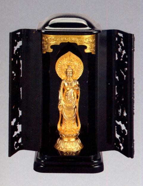 仏像■ 聖観音菩薩 巻物持ち 純金メッキ仕上 3号厨子入り■合金製 紙箱入【高岡銅器】