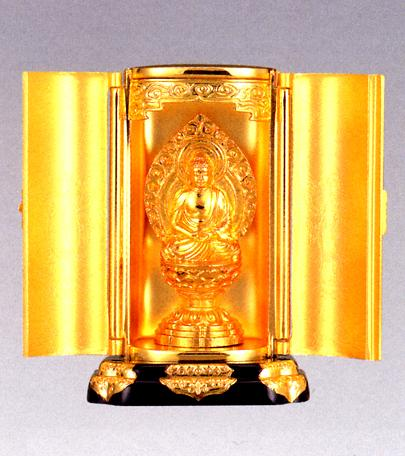 仏像■ 釈迦如来座像 純金メッキ 厨子入り■合金製 【高岡銅器】