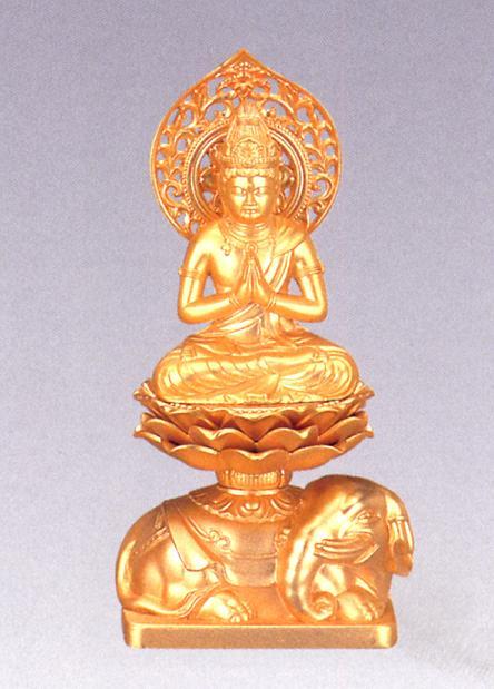 仏像■ 普賢菩薩 純金メッキ仕上 15■合金製 紙箱入【高岡銅器】
