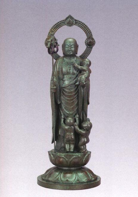 仏像■ 子安地蔵菩薩 3人水子 青銅色 21■合金製 紙箱入【高岡銅器】