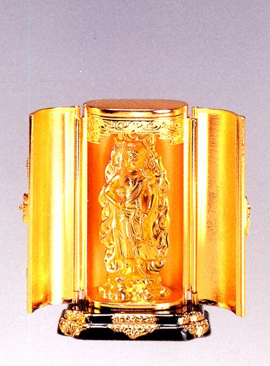 仏像■ 不動明王 純金メッキ仕上 厨子入り■合金製 紙箱入【高岡銅器】