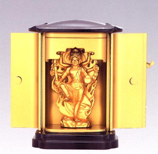 仏像■ 烏枢沙摩明王 -トイレの神様- 厨子入り■合金製 紙箱入【高岡銅器】u332-04