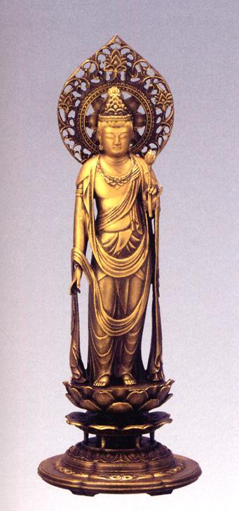 仏像■ 聖観音菩薩 金色 ■松久朋林・原型■蝋型青銅(ブロンズ)製 桐箱入【高岡銅器】