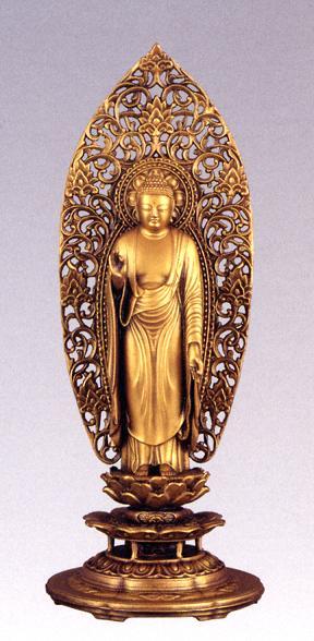 仏像■ 阿弥陀如来 舟形 金色 ■松久朋林・原型■蝋型青銅(ブロンズ)製 【高岡銅器】