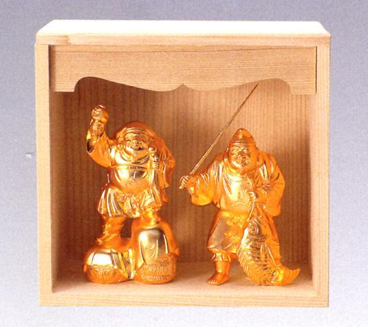 仏像 七福神■ 二福神(恵比寿様と大黒天) 純金メッキ ケース入り■合金製 【高岡銅器】