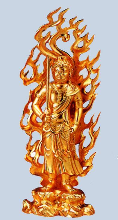 仏像■ 不動明王 ■牧田秀雲作 合金製純金メッキ 紙箱入【高岡銅器】