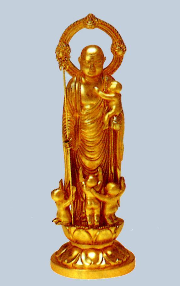 仏像■ 5寸 水子地蔵尊像 ■牧田秀雲作 合金(ダイキャスト)製純金メッキ 紙箱入り【高岡銅器】