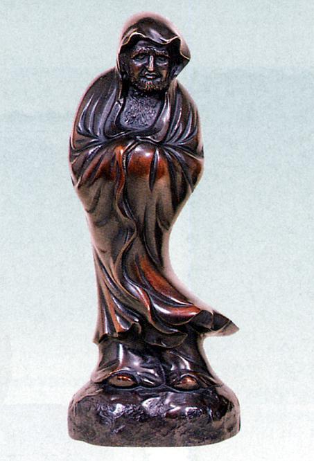 置物 偉人■ 達磨大師 立像 ■古手研出し色 瑞峰作 青銅(ブロンズ)製【高岡銅器】