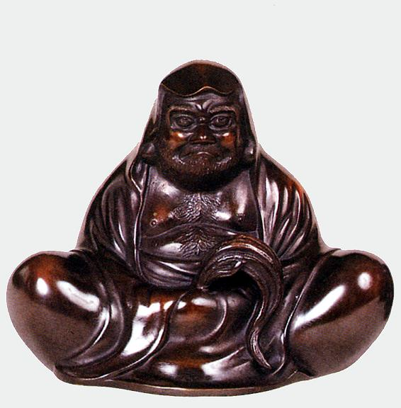 置物 偉人■ 達磨大師 座像 ■古手研出し色 昇作 青銅(ブロンズ)製【高岡銅器】