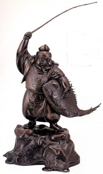 仏像 七福神■ 17号 恵比寿 銀線入り ■銅製【高岡銅器】