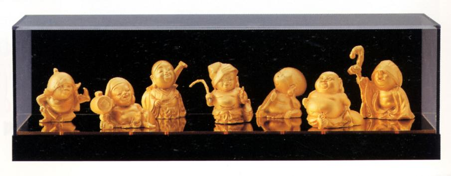 仏像 七福神■ 吉兆七福神 アクリルケース付 ■合金製 化粧箱入【高岡銅器】