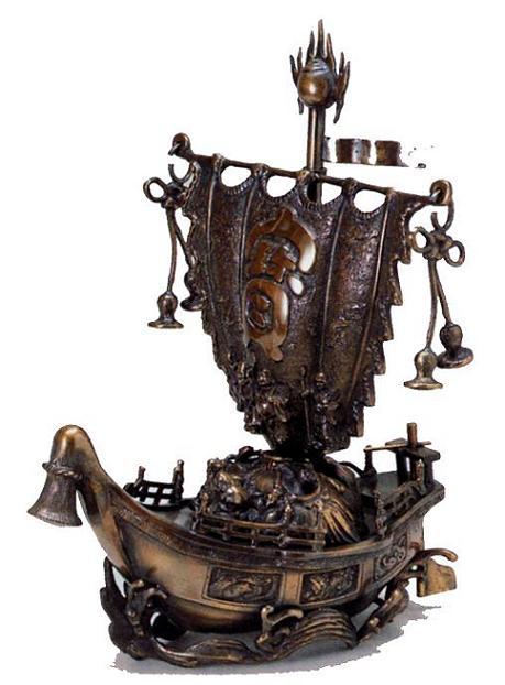 縁起物 宝船■ 尺5 宝舟 ■青銅(ブロンズ)製【高岡銅器】