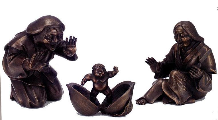 置物 ■ 桃太郎 ■蝋型青銅(ブロンズ)製 桐箱入り【高岡銅器】
