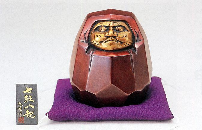 縁起物 置物■ ダルマ六心 七転八起 ■青銅(ブロンズ)製 紙箱入り【高岡銅器】