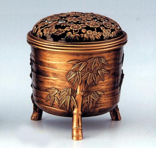 香炉・香立て■ 松竹梅(四君子)古銅色 ■合金製 桐箱入【高岡銅器】