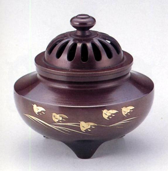 香炉・香立て■ 玉利久(波千鳥彫金) ■銅製 桐箱入【高岡銅器】