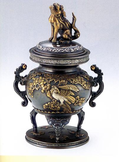 香炉・香立て■ 松鷹地紋 ■蝋型青銅(ブロンズ)製 桐箱入【高岡銅器】
