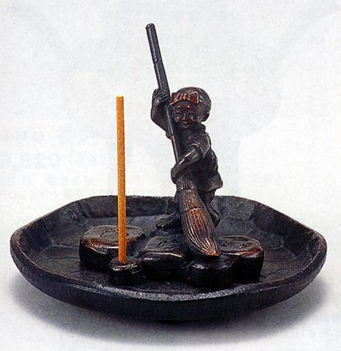 香炉・香立て■ 香立 清浄心(お掃除小僧) ■瑞峰作 青銅(ブロンズ)製【高岡銅器】