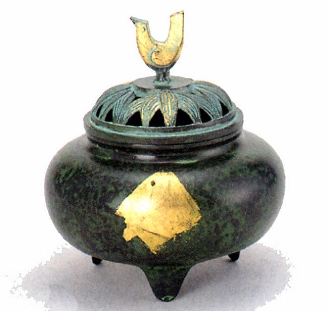 香炉・香立て■ 香炉 珠玉型 緑金色 ■青銅(ブロンズ)製 桐箱入り【高岡銅器】