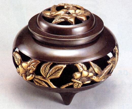 香炉・香立て■ 香炉 透し花鳥地紋(大) ■青銅(ブロンズ)製 桐箱入り【高岡銅器】