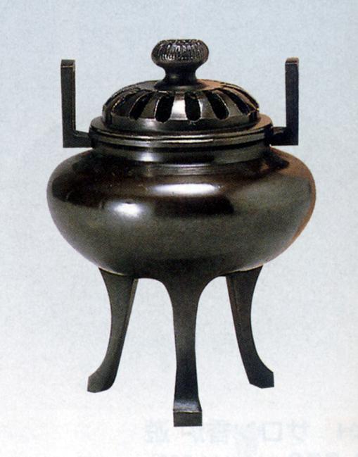 香炉・香立て■ 香炉 利久長足 ■青銅(ブロンズ)製 桐箱入り【高岡銅器】