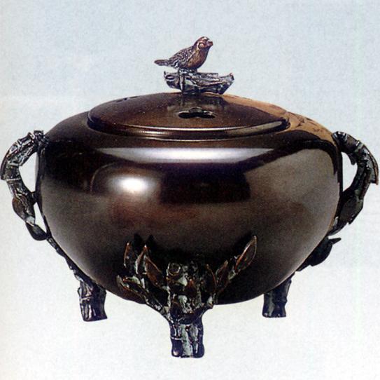 香炉・香立て■ 香炉 平丸型(竹に文鳥蓋) ■瑞峰作 青銅(ブロンズ)製 桐箱入り【高岡銅器】