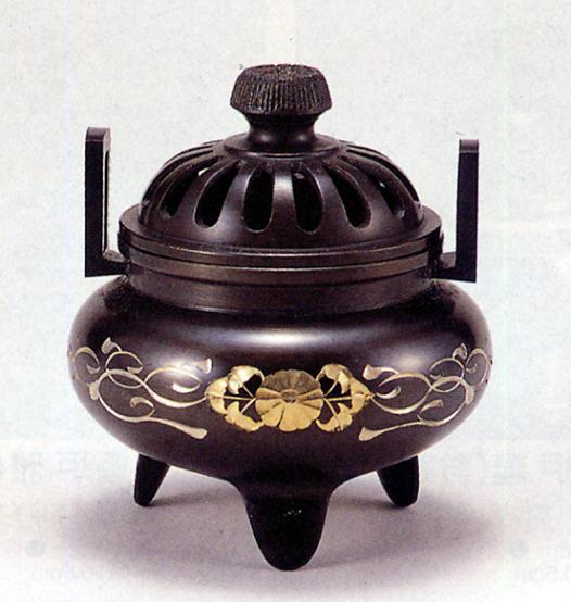 香炉・香立て■ 香炉 利久型(小)(唐草彫金) ■青銅(ブロンズ)製 桐箱入り【高岡銅器】