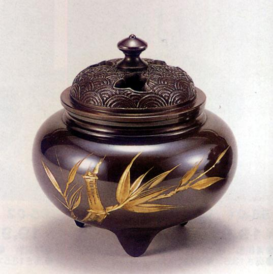 香炉・香立て■ 香炉 鉄鉢型四海波蓋(竹彫金) ■青銅(ブロンズ)製 桐箱入り【高岡銅器】