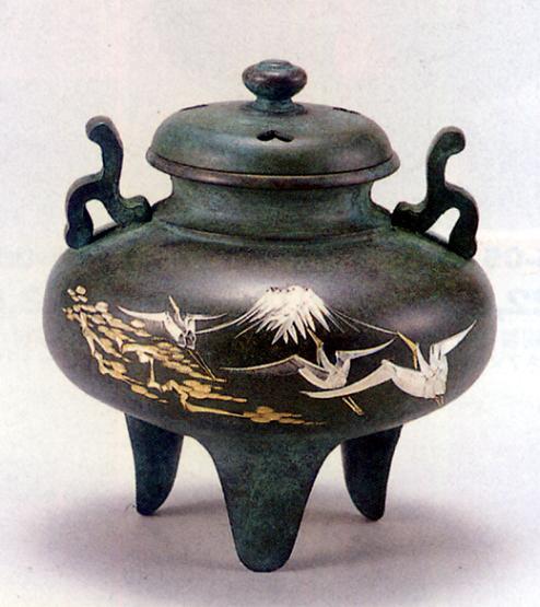 香炉・香立て■ 香炉 福宝型(鶴彫金) ■青銅(ブロンズ)製 桐箱入り【高岡銅器】
