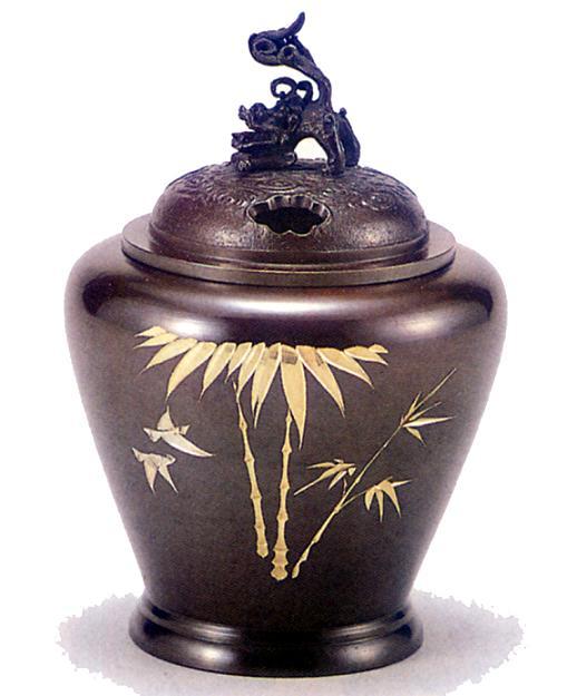 香炉・香立て■ 香炉 夏目型 獅子蓋(竹彫金) ■青銅(ブロンズ)製 桐箱入り【高岡銅器】