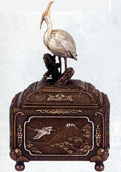 香炉・香立て■ 白鷺の四季(さしメッキ) ■大峰作 蝋型青銅(ブロンズ)製 桐箱入り【高岡銅器】