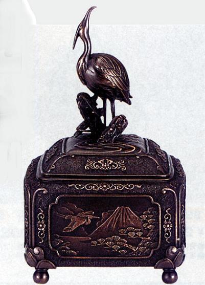 香炉・香立て■ 白鷺の四季(古手) ■大峰作 蝋型青銅(ブロンズ)製 桐箱入り【高岡銅器】