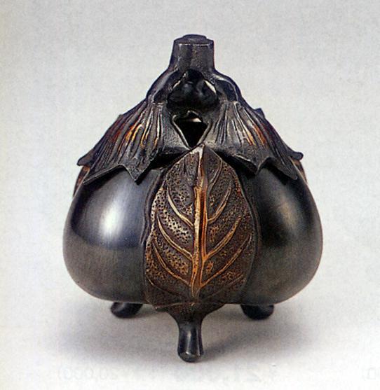 香炉・香立て■ 香炉 新三茄子 ■青銅(ブロンズ)製 桐箱入り【高岡銅器】